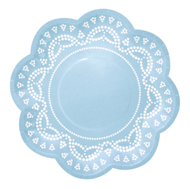 Pale Blue Lovely Lace  - paper plates
