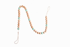 Natural wooden bead garland  - tiffany blue