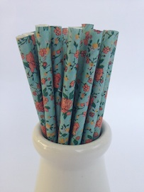 Green Floral  - Paper Straws