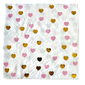 Pink and gold  - heart napkins
