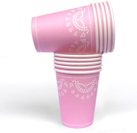 Pink Lovely Lace  - paper cups