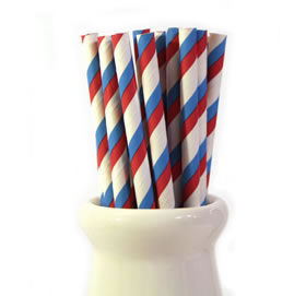 Paper Straws - Duo red + blue stripe