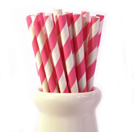 Paper Straws - Hot pink stripe