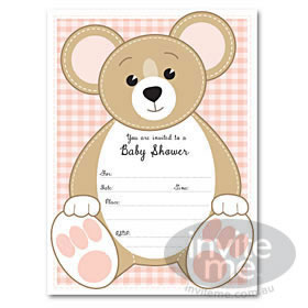 Baby Shower Teddy - Pink invitations