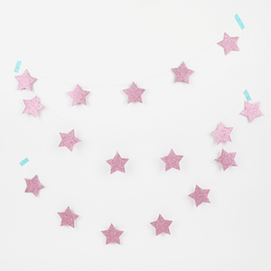 Pink Stars  - party garland