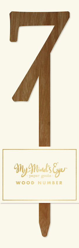 7 Wooden number  - party pick