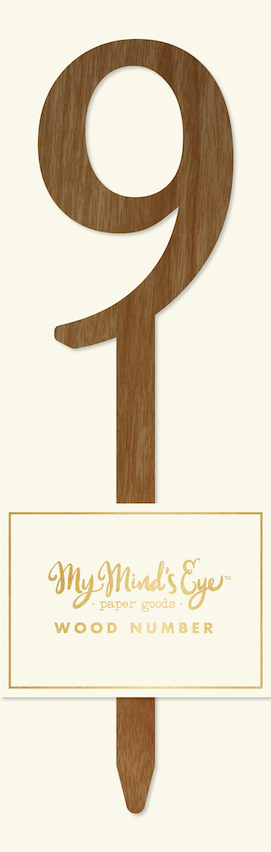 9 Wooden number  - party pick