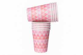 Pink geo  - paper cups