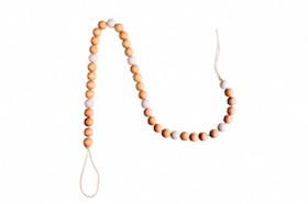 Natural wooden bead garland  - white